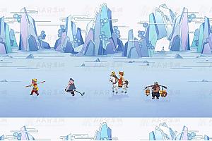 纯CSS3实现西游记师徒4人西天取经特效动画背景