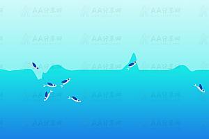 生动逼真鱼跃海面穿梭不停js特效动画