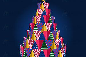 纯CSS实现动态旋转多彩喜庆圣诞树CSS3特效动画