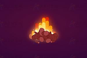 纯CSS实现卡通风格动态火焰燃烧特效动画背景