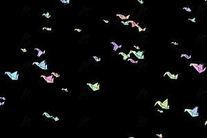炫酷多彩折纸千纸鹤漫天飞舞canvas特效动画