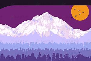 美观大气昼夜交替动态丛林山岭大雁js特效动画背景