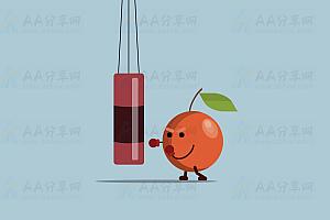 纯CSS实现卡通风格水果拳击沙包特效动画