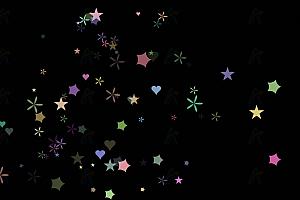 星星花瓣爱心随机飘动背景动画js效果
