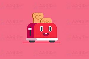 纯CSS实现可爱卡通风格动态面包机特效动画