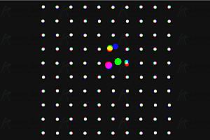 多彩圆球粒子节点鼠标经过放大canvas动画