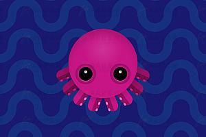 模拟深海可爱乌贼动态下沉游动js动画