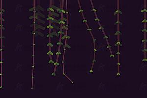 原生js实现多彩柳条模拟随风飘动特效动画