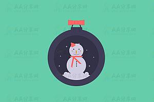 CSS+SVG绘制圣诞雪人特效动画