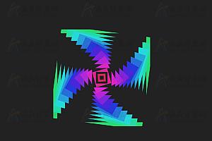多彩回字形图案扭曲变形js动画